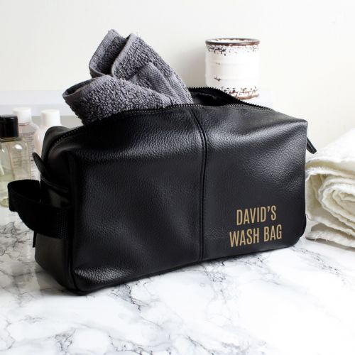 Personalised Luxury Black Leather Wash Bag